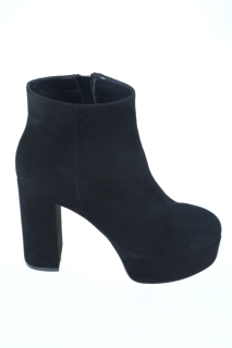 Anlkle boots black suede Leather - ANNA F.